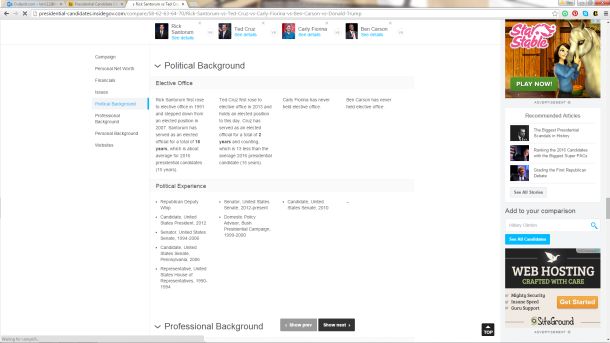 I am impressed with how easy this website makes it to compare candidates side by side. I recommend a few at a time because, well, screens are only so big.